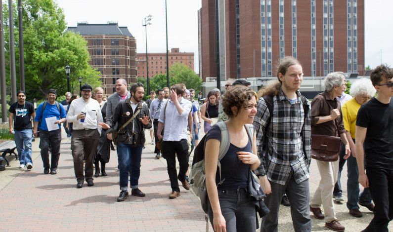 Students, faculty march for adjunct rights