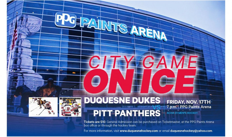 Duquesne hockey to play Pitt at PPG Paints Arena on Nov. 17