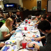 'Happy little students' paint at Bob Ross event