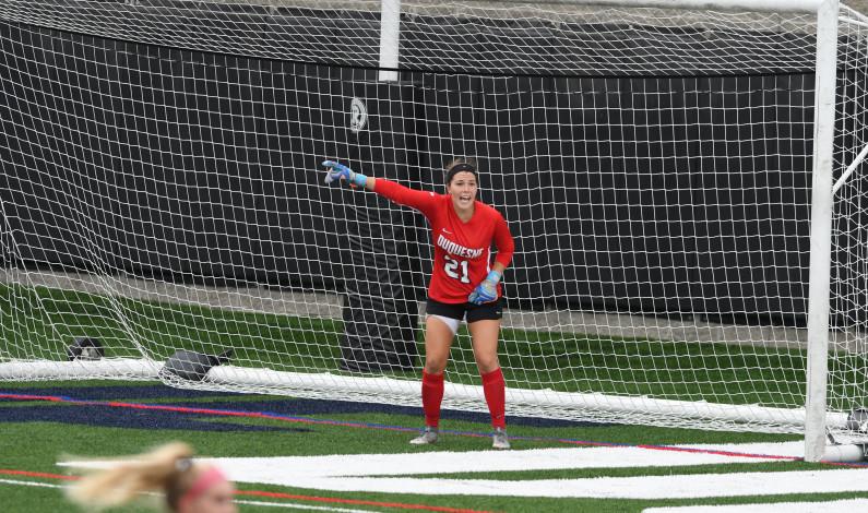 Megan Virgin settling in as Dukes' goalkeeper