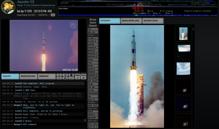 Website shows Apollo 13 mission in real time