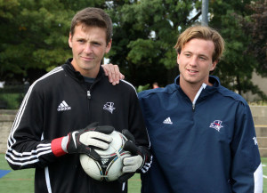 Claire Murray | The Duquesne Duke Sophomore goalkeeper Sam Frymier and junior forward Josh Ellis recently taught The Duquesne Duke sports editors about the art of a penalty kick and how to save one on Sept. 23.