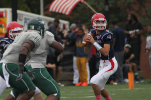 Taylor Miles | The Duquesne Duke Quarterback Dillon Buechel looks for an open receiver in last weekend's 34-17 victory over Wagner. The Dukes are now 3-2 on the season.