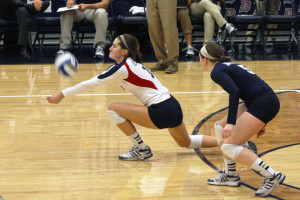 Claire Murray | The Duquesne Duke Outside hitter Nora Young makes a defensive play Sunday in the Duquesne women's volleyball team's loss to the VCU Rams.
