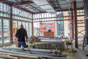 Photo by Addie Smith | The Duquesne Duke. Construction workers put the finishing touches on Uptown, a bar and lounge on the fourth floor of a development project across the road from Consol Energy Center.  According to owner Kevin Nord, the restaurant will be open by Thanksgiving.