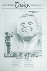 The front page of The Duke after the assassination of President John F. Kennedy.