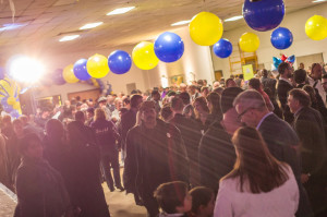 Photo by Aaron Warnick | Photo Editor. The crowd at Peduto's Election Night Party celebrates.