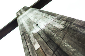 Photo by Aaron Warnick | Photo Editor. The wooden cross near the Rangos School of Health Sciences stands without its accompanying Jesus statue. It will be renovated and moved in the coming months.