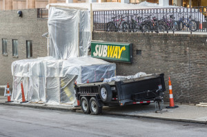 Photo by Aaron Warnick | Photo Editor. The newly renovated Subway restaurant outside Brottier Hall prepares for its expected opening by the end of the month. Renovations include a handicap ramp.