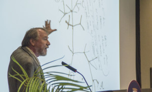 Photo by Claire Murray | Asst. Photo Editor. Michigan State professor Richard Lenski speaks at Darwin Day on Wednesday.