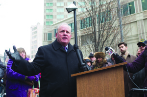 Photo by Aaron Warnick | Photo Editor. Congressman Mike Doyle (D-Forest Hills) speaks at a rally for workers' rights Monday afternoon outside the federal building on Liberty Avenue. Doyle said Duquesne should provide its adjunct faculty with more security and benefits.