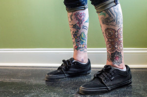 (Aaron Warnick / Photo Editor)- Tattoos on the legs of Twitch
