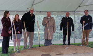 Photo by Taylor Miles | The Duquesne Duke. Officials break ground at the site of the new black box theater adjacent to the music school, which is set to open by fall 2015.