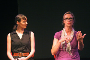 (Katie Auwaerter / Features Editor) - Speakers Hannah du Plessis and Brenda Harger sit down to answer questions at the Pittsburgh Comedy Festival.