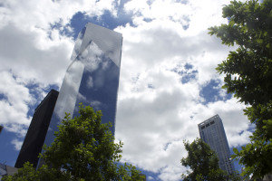 Photo by Julian Routh | News Editor. One World Trade Center stands 1,776 feet off the ground in New York City, 13 years after the original Twin Towers collapsed in the attacks on Sept. 11, 2001. The skyscraper, deemed the Freedom Tower, is now the tallest building in the United States.