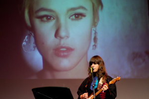 Courtesy of the Warhol Press room- Eleanor Friedberger performs a song for a short film starring Edie Sedgwick during Friday evening's event for Songs for unseen Warhol Films.