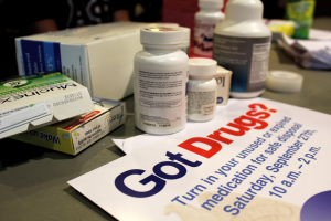 Photo by Taylor Miles | The Duquesne Duke. Prescription drugs are gathered at Bayer Hall Sept. 26 as part of Drug Take Back Day.