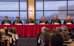 Photo by Claire Murray | Photo Editor. Pennsylvania Supreme Court justices convene in the Power Center Ballroom Tuesday afternoon to honor Ronald Castille.