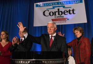 Photo by Aaron Warnick | The Duquesne Duke. Gov. Tom Corbett waves goodbye to Republican supporters after conceding the gubernatorial election to Democrat Tom Wolf at a party Tuesday night at the Omni William Penn Hotel Downtown. Corbett served one term as governor.