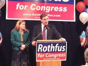 Photo Courtesy of Catherine Salmento. Congressman Keith Rothfus gives a victory speech.