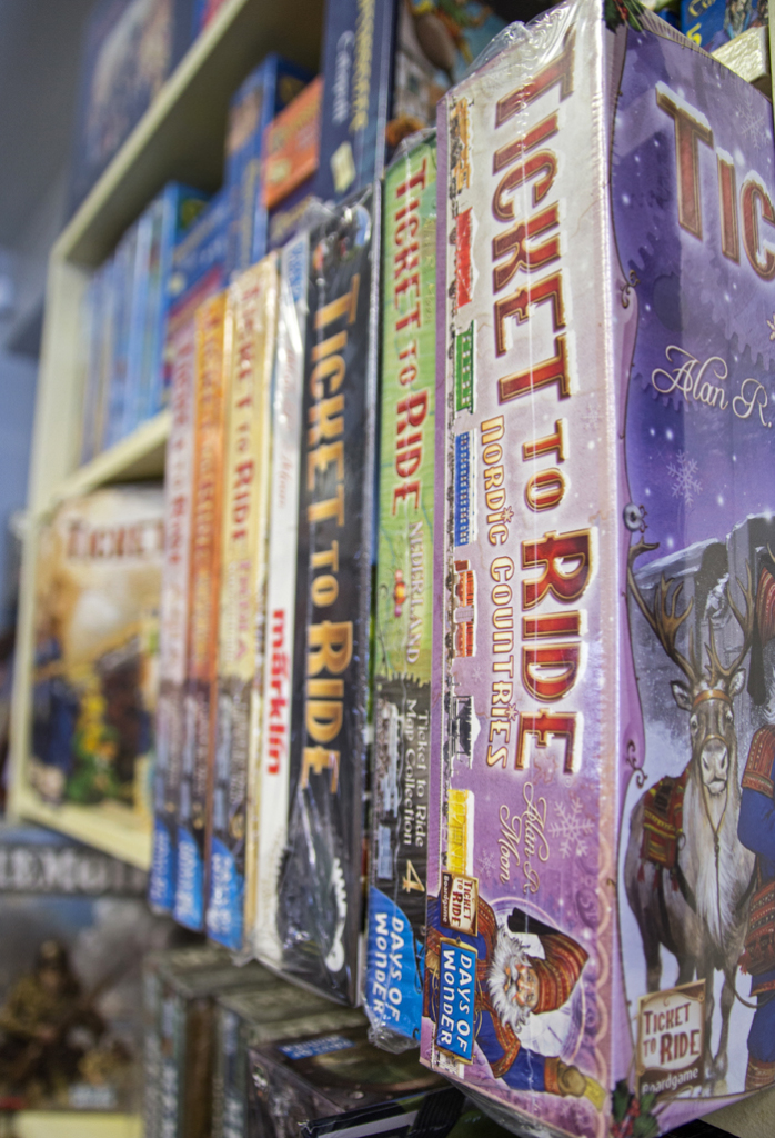 Claire Murray / Photo Editor - A series of board games called Ticket to Ride are on display at Phantom of the Attic in Oakland