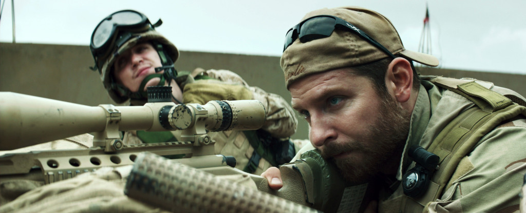 "In this image released by Warner Bros. Pictures, Kyle Gallner, left, and Bradley Cooper appear in a scene from the film, ""American Sniper,"" directed by Clint Eastwood. (AP Photo/Warner Bros. Pictures)"