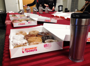 Dunkin' Donuts and coffee in the Assumption Hall lobby make for a tasty breakfast.
