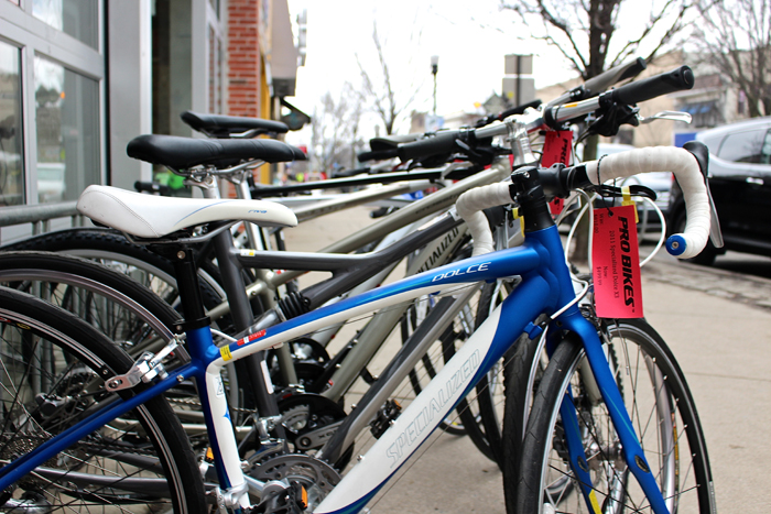 Shanna Harvey / For The Duquesne Duke. Bicycles line the street at Pro Bikes in Oakland waiting for new owners. Duquesne students organized a bicycle club that will take advantage of Pittsburgh's bike lanes.