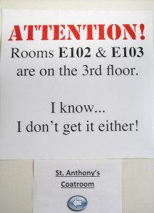 (Claire Murray / Photos Editor) A sign attempts to make sense of Fisher Hall's confounding layout.
