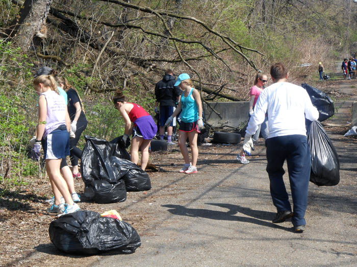 (Courtesy of Kate Lecci) The annual Spring Clean-Up rallies Duquesne students, faculty and staff, as well as community members, to spruce up and beautify areas in the Hill District and South Side.
