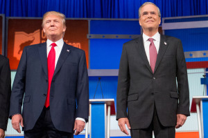 AP Photo. In this photo taken Aug. 6, 2015, Republican presidential candidates Donald Trump and former Florida Gov. Jeb Bush, take the stage for the first Republican presidential debate at the Quicken Loans Arena in Cleveland. Donald Trump is used to controlling his world like the boss he is. But as president, he'd answer to the people. And so far in the rollicking 2016 presidential contest, he's showing little willingness to dial down his because-I-said-so style. (AP Photo/Andrew Harnik)
