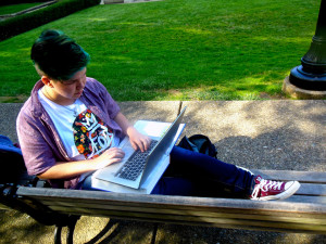 Ashley Browne | The Duquesne Duke A student uses her laptop on campus. Duquesne's wireless internet system has been criticized recently and will be undergoing several upgrades in the next year.