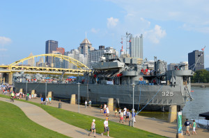 Joe Guzy | The Duquesne Duke The USS Syros attracts visitors near Heinz Field. The cargo ship is similar to those built in Pittsburgh during World War II.