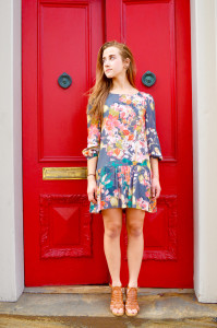 Photo by Gabriella Vaccaro | The Duquesne Duke. Lordo wears a floral pattern dress, sticking to a '70s theme of prints.