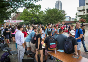 Claire Murray | Photo Editor Students gather on Academic Walk for the annual Duquesne Expo, where freshmen can learn about the many student organizations on campus. In the past, many groups offerred food at their tables. This year, they had new rules to follow.