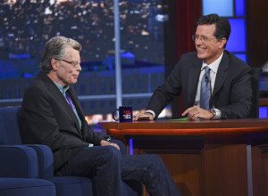 """AP Photo Stephen Colbert chats to Stephen King on his new late night talk show, """"The Late Show with Stephen Colbert."""""""
