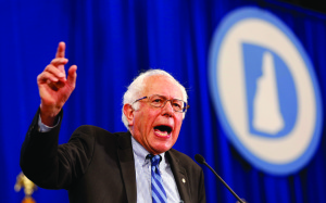 Democratic presidential candidate Sen. Bernie Sanders (D-Vt.) speaks during the state's annual Democratic convention Sept. 19, in Manchester, New Hampshire. Sanders and Republican candidate Donald Trump seem to be heavily favored by the public.