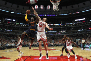 Cleveland Cavaliers forward LeBron James (23) shoots over Chicago Bulls forward Pau Gasol (16) during the second half of an NBA basketball game Tuesday, Oct. 27, 2015, in Chicago. The Bulls won the game 97-95. (AP Photo/Jeff Haynes)