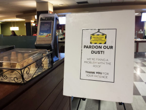 Casey Chafin | The Duquesne Duke A sign in the Rev. Sean Hogan Dining Hall notifies students of ongoing repairs.
