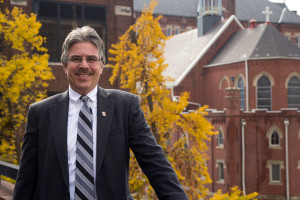 By Claire Murray | Photo Editor Law school Dean Ken Gormley poses for a photo Wednesday morning outside Old Main. Gormley was selected as the13th president of Duquesne University.