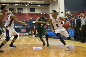 By Joseph Guzy | The Duquesne Duke | Sophomore forward Eric James drives to the basket during the Dukes' 91-77 victory over Mississippi Valley State this past Tuesday night. James finished the game with a career high 18 points.