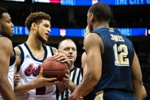 By Joseph Guzy | The Duquesne Duke - Sophomore forward TySean Powell gets in a heated exchange with a Pitt player.