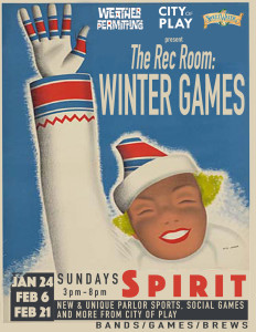 Courtesy of Weather Permitting. The Rec Room: Winter Games hope to provide a relaxing way to get out of the house during the winter season.