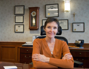 By Joseph Guzy | Photo Editor Interim Dean of the Duquesne University Law School Nancy Perkins poses for a photo in her new office. Perkins is the first woman to lead the 105-yr.-old school.