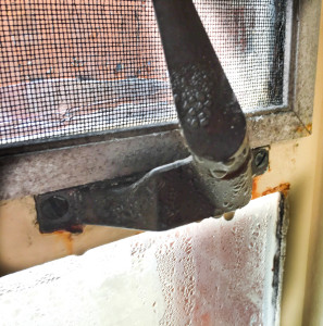 By Kaye Burnet | The Duquesne Duke A handle for opening a window in Assumption is stuck closed and covered in mold and rust. Broken windows are a common problem in the 65-year-old dorm.