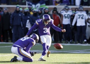 AP Photo - Minnesota Vikings kicker Blair Walsh (3) misses a field goal during the second half of an NFL wild-card football game against the Seattle Seahawks, Sunday, Jan. 10, 2016, in Minneapolis. The Seahawks won 10-9. (AP Photo/Jim Mone)