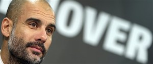 FILE - In this Dec. 19, 2015 file picture Munich head coach Pep Guardiola, attends a news conference after the German Bundesliga soccer match between Hannover 96 and FC Bayern Munich in Hannover, Germany. Manchester City say Pep Guardiola will join the club as its manager on a three-year contract starting next season. Guardiola will replace Manuel Pellegrini, who announced at a news conference on Monday Feb. 1, 2016, that he would be leaving at the end of the season.