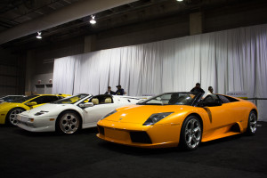 Photo by Seth Culp-Ressler | Features Editor. A line of Lamborghinis sit on display in the Galleria Exotica.