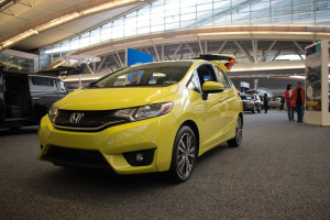Photo by Seth Culp-Ressler | Features Editor. A bright yellow Honda Fit brought some much needed color to the floor.