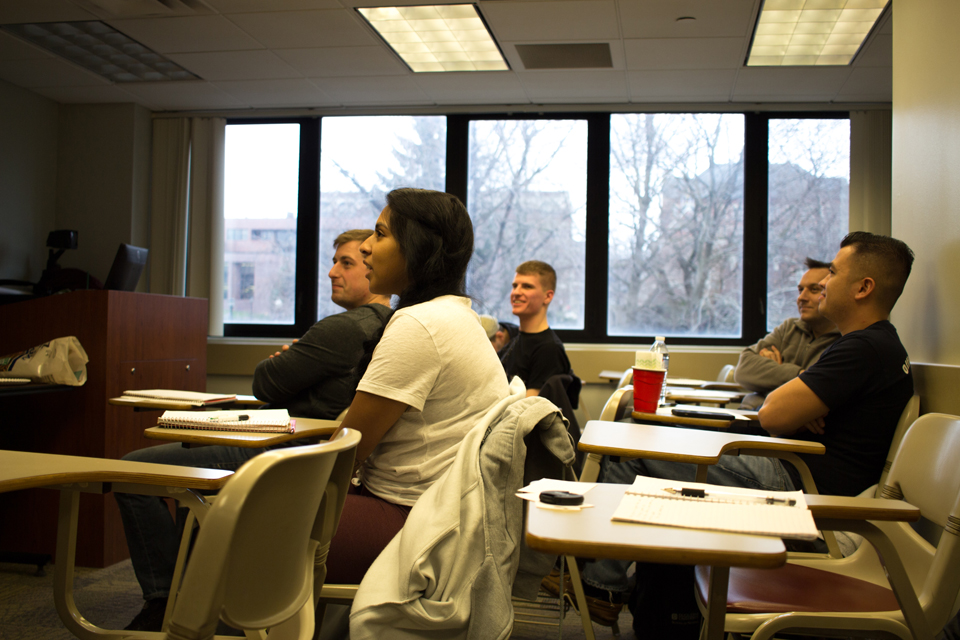 Photo by Seth Culp-Ressler | Features Editor. DU Dog Tags first meeting proved that both the interest and need for a Duquesne student veteran writing group is there.